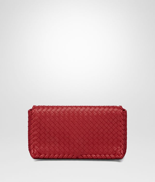 BOTTEGA VENETA CLUTCH BAG IN CHINA RED INTRECCIATO NAPPA Clutch Woman fp