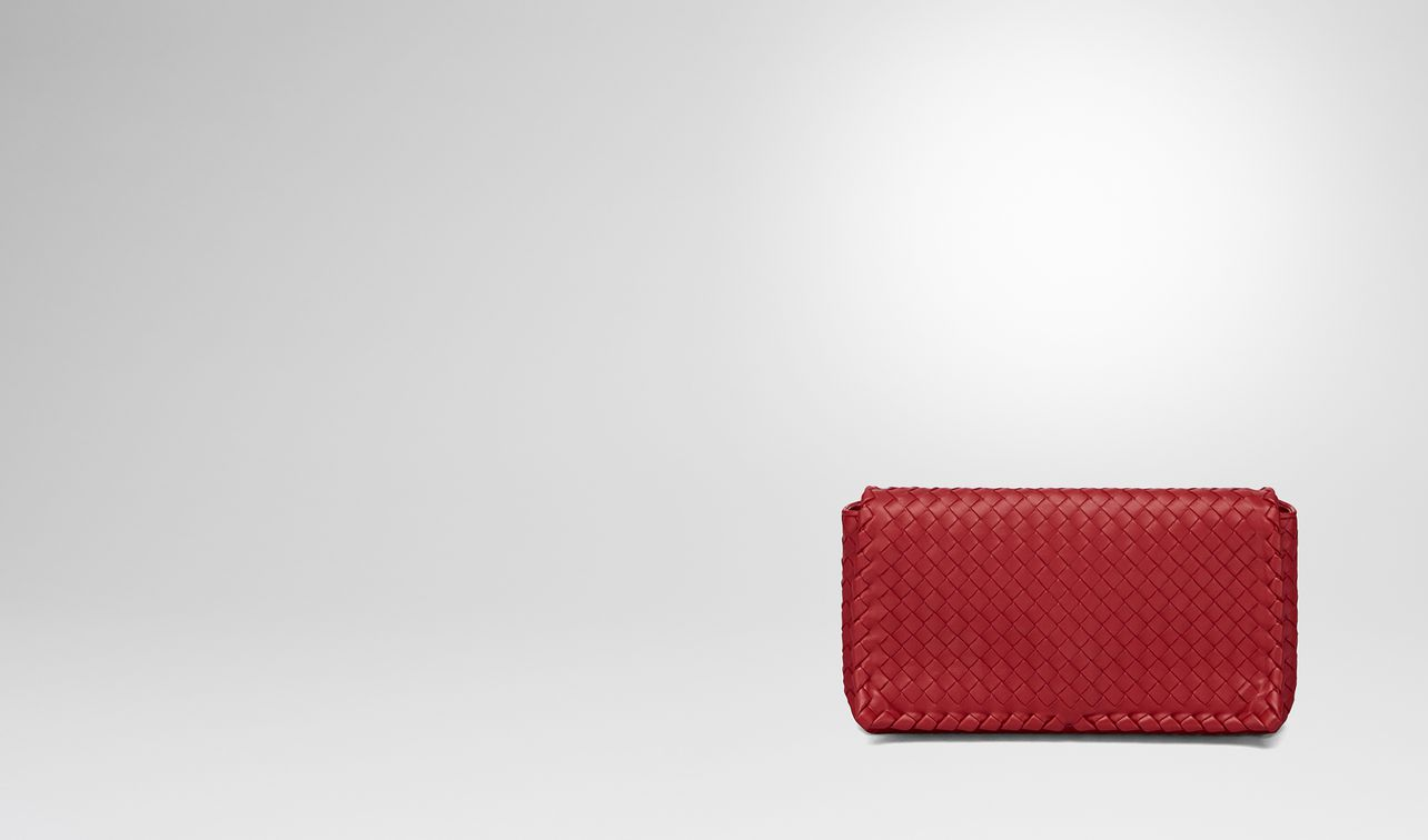 china red intrecciato nappa clutch landing