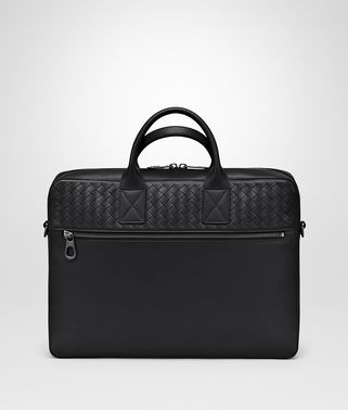 BRIEFCASE IN NERO CALF LEATHER, INTRECCIATO DETAILS