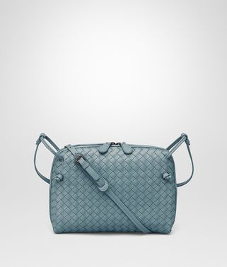 MESSENGER BAG IN AIR FORCE BLUE INTRECCIATO NAPPA