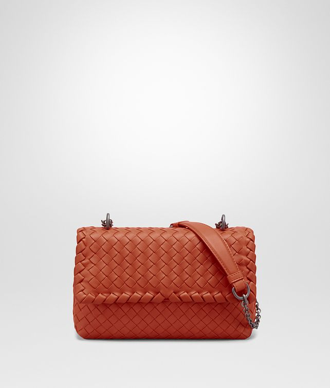 BOTTEGA VENETA BABY OLIMPIA BAG IN GERANIUM INTRECCIATO NAPPA Shoulder or hobo bag Woman fp
