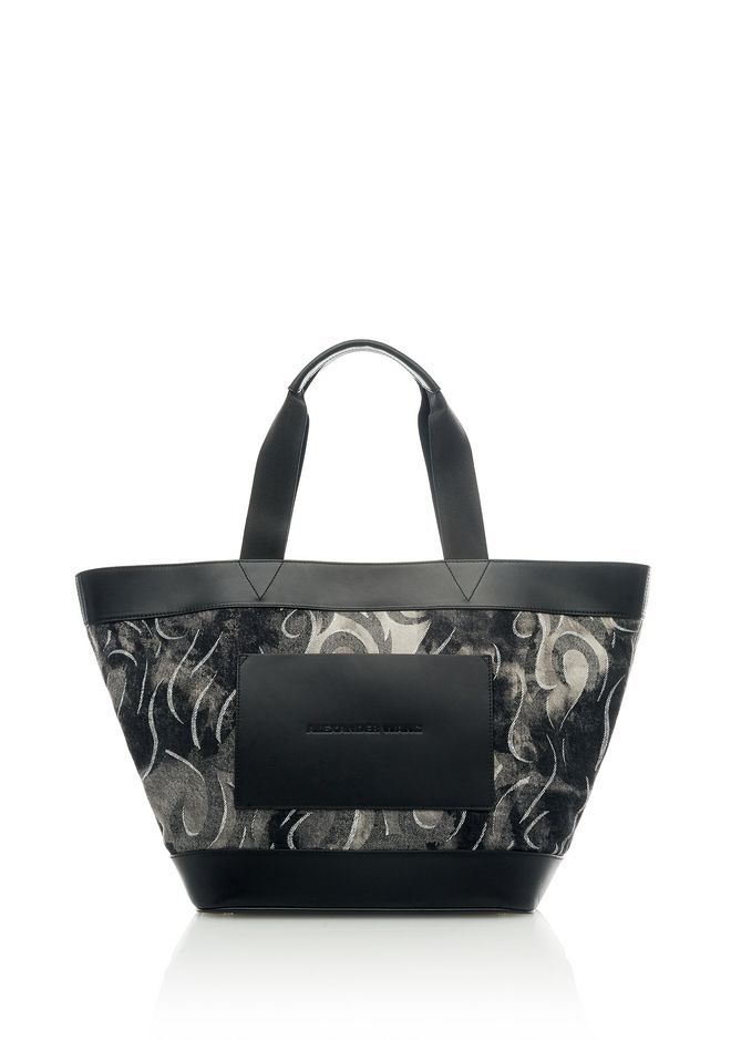 ALEXANDER WANG Shoulder bags Women BLACK DENIM TATTOO PRINT TOTE BAG