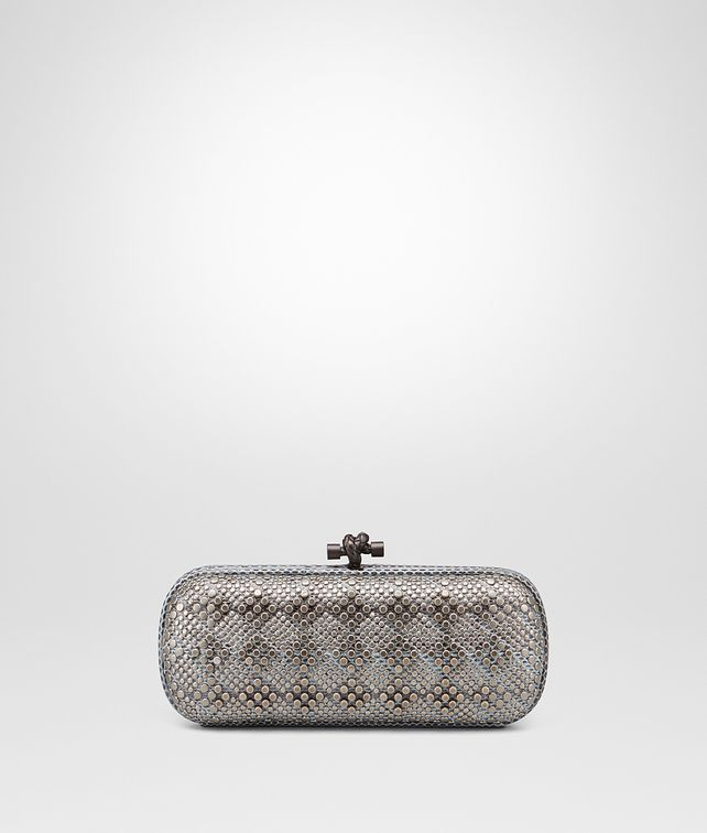BOTTEGA VENETA STRETCH KNOT IN AIR FORCE BLUE AYERS, METAL STUDS DETAILS Clutch D fp