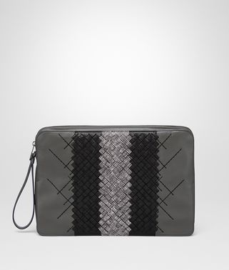 DOCUMENT CASE IN NEW LIGHT GREY INTRECCIATO NAPPA GRAFFITI CLUB LAMBSKIN, EMBROIDERED DETAILS