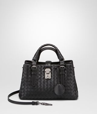 MINI ROMA BAG IN NERO INTRECCIATO CALF LEATHER