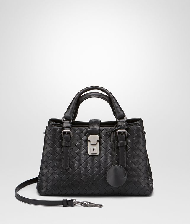 BOTTEGA VENETA MINI ROMA BAG IN NERO INTRECCIATO CALF Top Handle Bag D fp