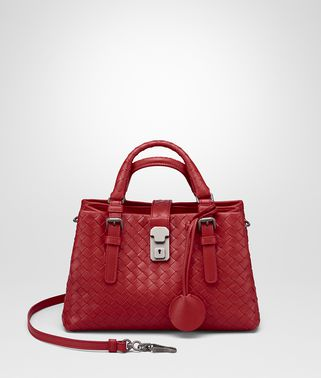 MINI ROMA BAG IN CHINA RED INTRECCIATO CALF LEATHER