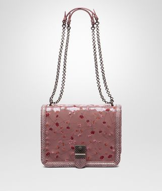SHOULDER BAG IN DUSTY ROSE EMBROIDERED PATENT LEATHER, AYERS DETAILS