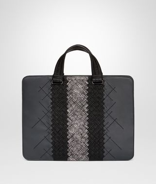 BRIEFCASE IN ARDOISE INTRECCIATO NAPPA GRAFFITI CLUB LAMB LEATHER, EMBROIDERED DETAILS