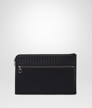DOCUMENT CASE IN NERO CALF LEATHER, INTRECCIATO DETAILS