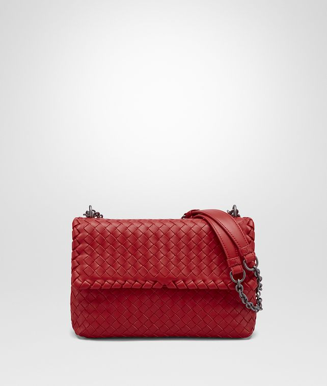 BOTTEGA VENETA OLIMPIA BAG IN CHINA RED INTRECCIATO NAPPA Shoulder Bag Woman fp