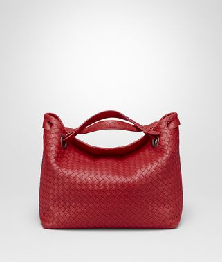 SHOULDER BAG IN CHINA RED INTRECCIATO NAPPA