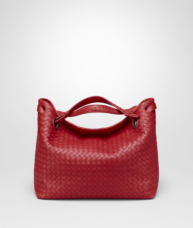 BOTTEGA VENETA BORSA GARDA MEDIA IN INTRECCIATO NAPPA CHINA RED Borsa a spalla D fp