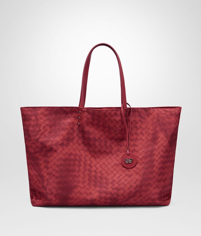 BOTTEGA VENETA SAC FOURRE-TOUT MOYEN FORMAT EN INTRECCIOLUSION CHINA RED Sac à main D fp