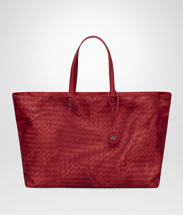 BOTTEGA VENETA CHINA RED INTRECCIOLUSION LARGE TOTE Top Handle Bag D fp