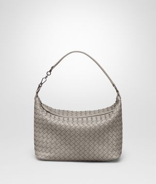 SHOULDER BAG IN FUME' INTRECCIATO NAPPA