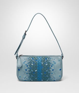SHOULDER BAG IN AIR FORCE BLUE EMBROIDERED NAPPA LEATHER