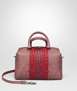 BORSA A MANO IN NAPPA RICAMATA DUSTY ROSE