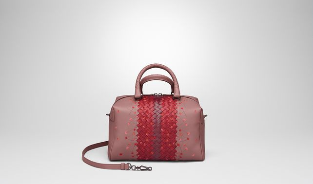 TOP HANDLE BAG IN DUSTY ROSE EMBROIDERED NAPPA LEATHER