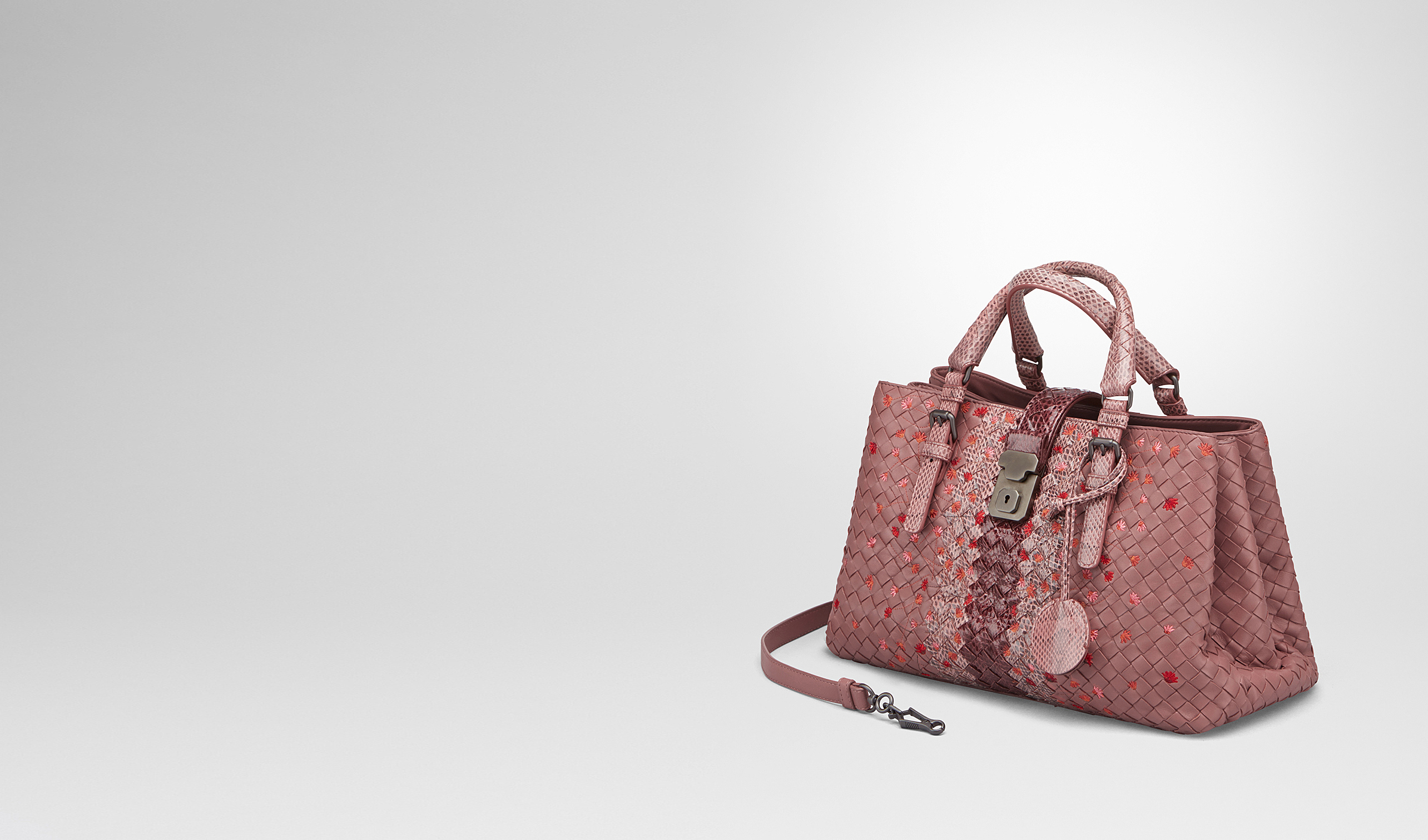 BOTTEGA VENETA Top Handle Bag D SMALL ROMA BAG IN DUSTY ROSE EMBROIDERED NAPPA LEATHER, AYERS DETAILS pl