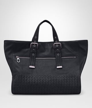 TOTE BAG IN DARK NAVY CALF LEATHER, INTRECCIATO DETAILS