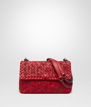 OLIMPIA BAG IN CHINA RED EMBROIDERED INTRECCIATO NAPPA