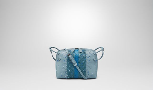 MESSENGER BAG IN AIR FORCE BLUE EMBROIDERED NAPPA