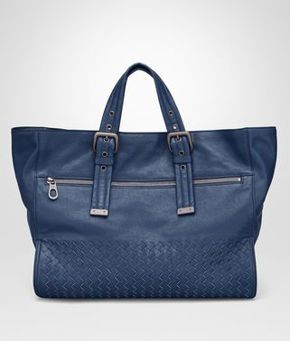 TOTE BAG IN PACIFIC CALF LEATHER, INTRECCIATO DETAILS
