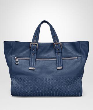 海洋蓝小牛皮购物袋,饰编织细节