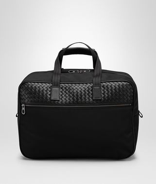 TRAVEL BAG IN NERO TECHNICAL CANVAS AND INTRECCIATO CALF