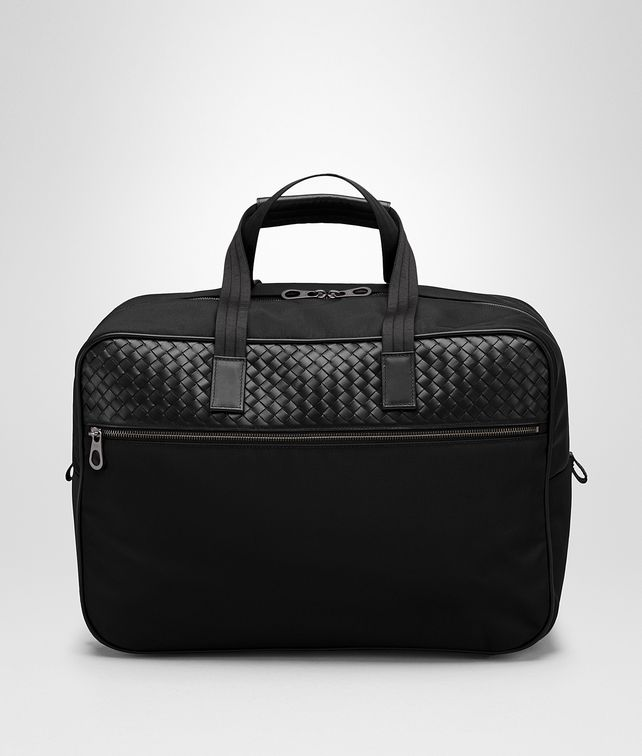 BOTTEGA VENETA TRAVEL BAG IN NERO TECHNICAL CANVAS AND INTRECCIATO CALF Trolley and Carry-on bag E fp