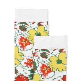 White Foolish Flowers Socks