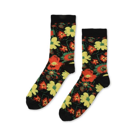 Black Foolish Flowers Socks