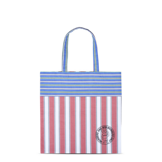 Tote Bag a Righe con Stampa Members