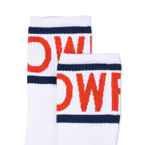 White Tomorrow Print Socks