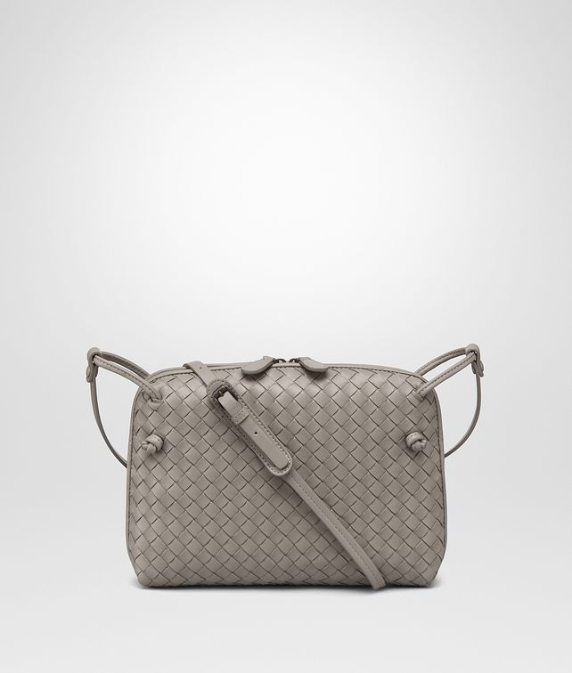 BOTTEGA VENETA MESSENGER BAG IN FUME' INTRECCIATO NAPPA Crossbody bag Woman fp