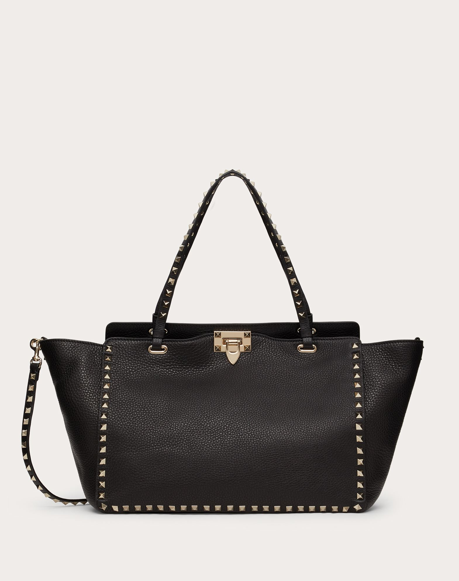 VALENTINO Textured leather Studs Logo Solid colour Framed closure Unlined Removable shoulder strap  45330548ra