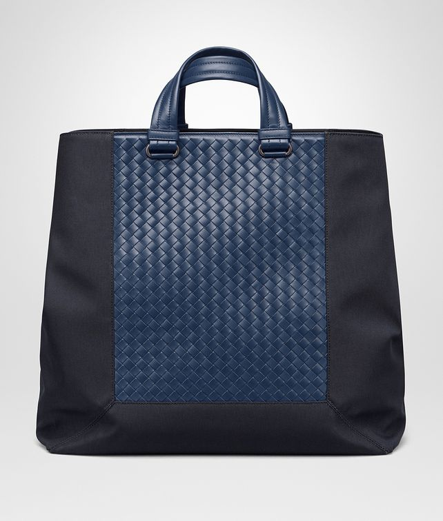 BOTTEGA VENETA TOTE BAG IN TOURMALINE TECHNICAL CANVAS AND PACIFIC INTRECCIATO CALF Tote Bag Man fp