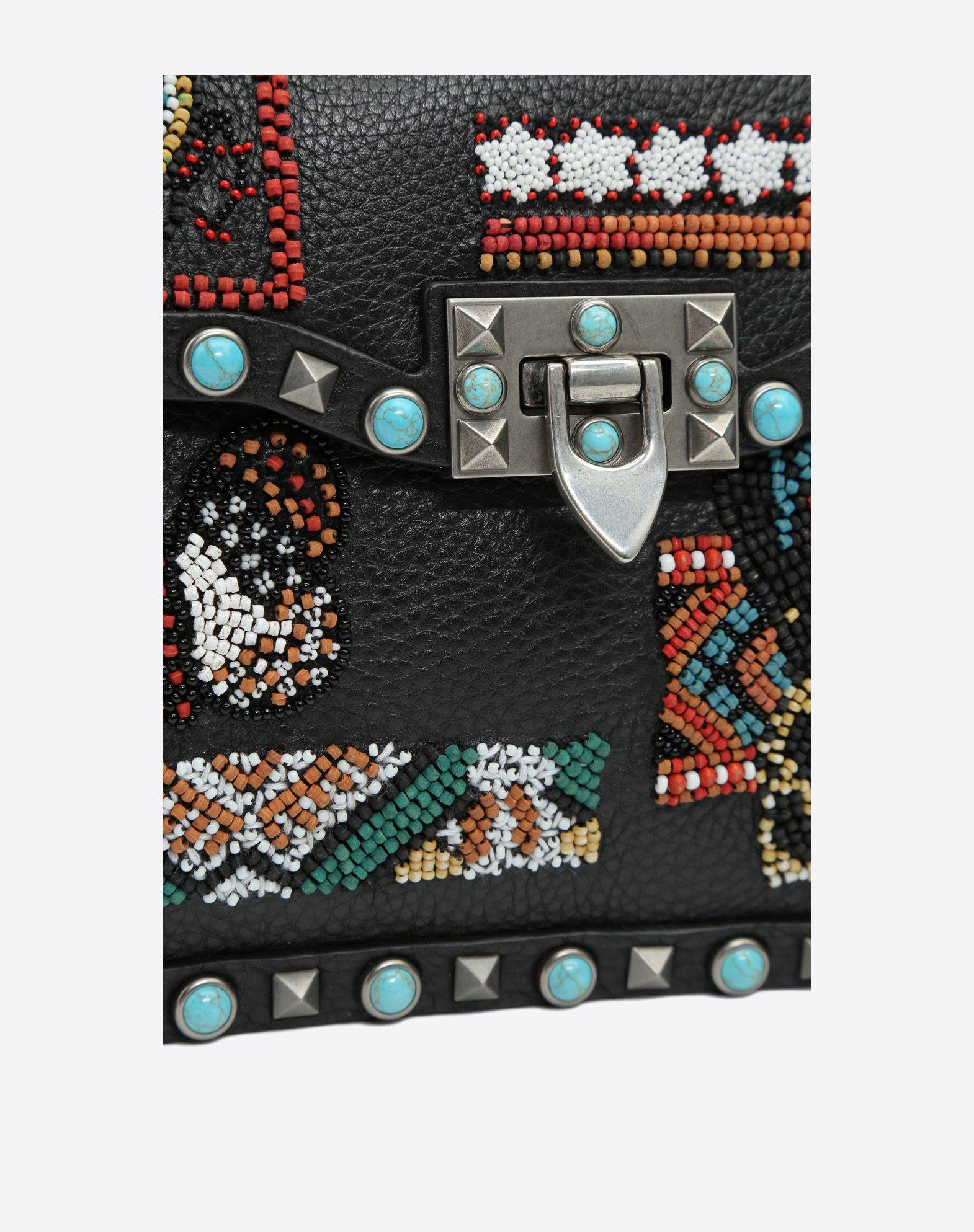 VALENTINO Textured leather Beaded detailing Studs Logo Internal compartments Removable shoulder strap  45330777kj