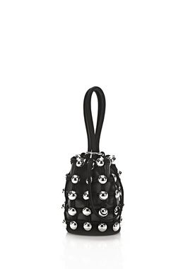 ROXY MINI BUCKET IN BLACK SUEDE WITH STUDS