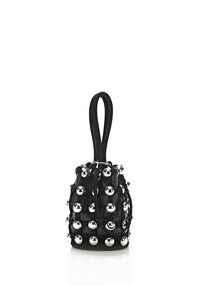 ALEXANDER WANG TOP HANDLE BAGS ROXY MINI BUCKET IN BLACK SUEDE WITH STUDS