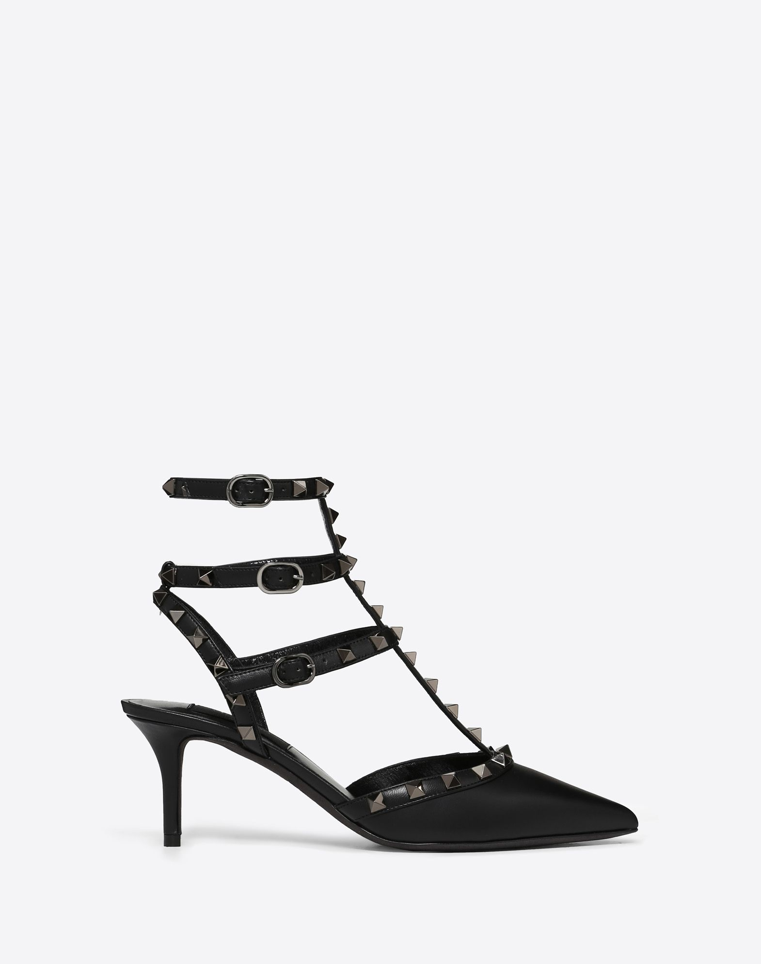 VALENTINO Solid colour Metal Applications Buckling ankle strap closure  45330864ot