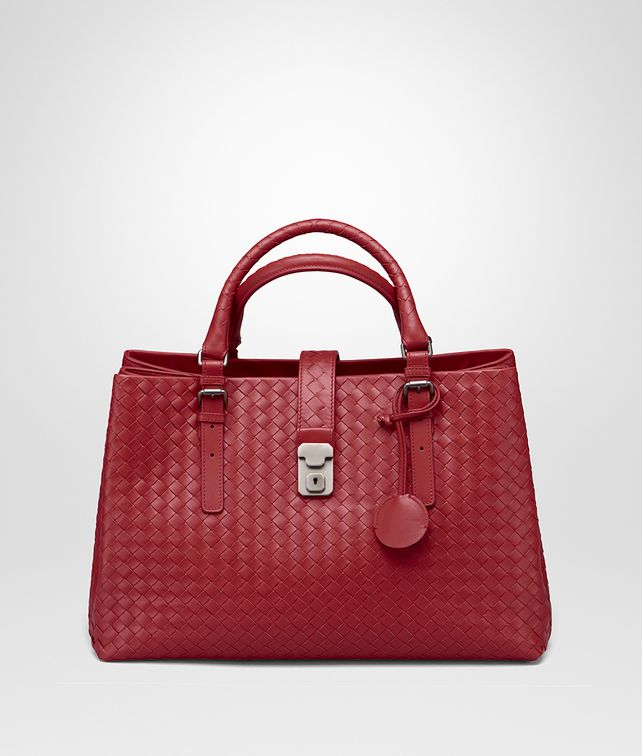 fbf3f19663 BOTTEGA VENETA CHINA RED INTRECCIATO CALF MEDIUM ROMA BAG Top Handle Bag
