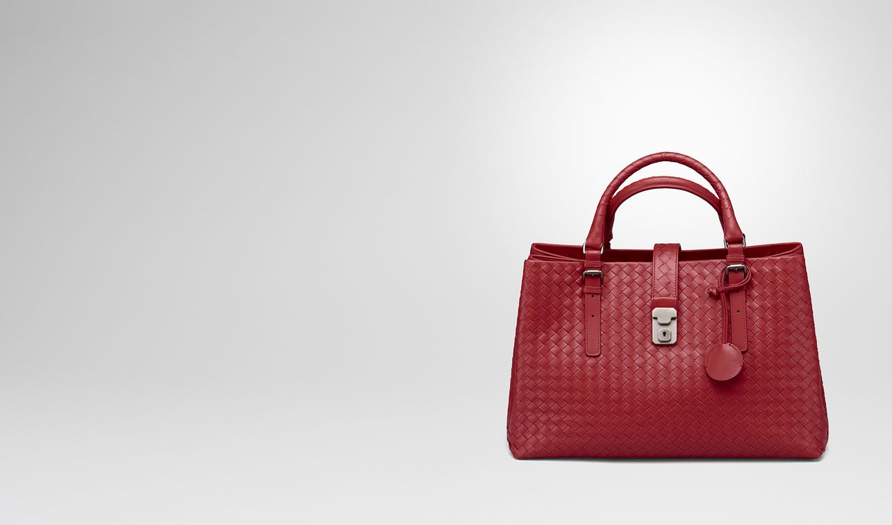 roma bag in china red intrecciato calf landing