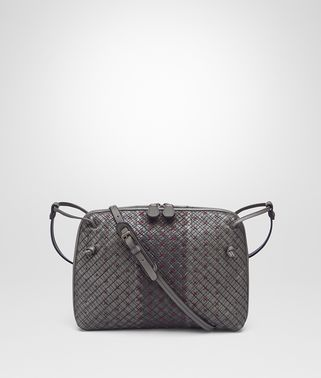 MESSENGER-TASCHE AUS BESTICKTEM NAPPA IN NEW LIGHT GREY ARDOISE