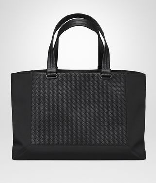 TOTE BAG IN NERO TECHNICAL CANVAS AND INTRECCIATO CALF