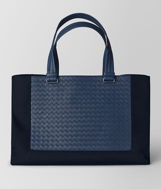 TOTE BAG IN TOURMALINE TECHNICAL CANVAS AND PACIFIC INTRECCIATO CALF