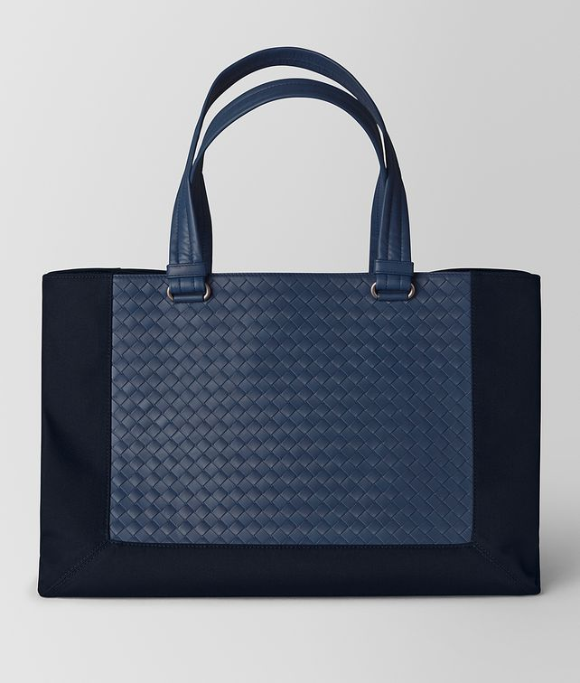 BOTTEGA VENETA TOURMALINE HI-TECH CANVAS/PACIFIC INTRECCIATO CALF TOTE Tote Bag Man fp