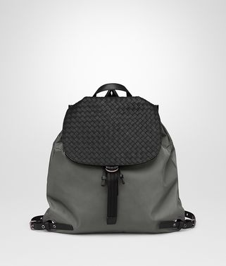 BACKPACK IN NEW LIGHT GREY TECHNICAL CANVAS AND NERO INTRECCIATO CALF
