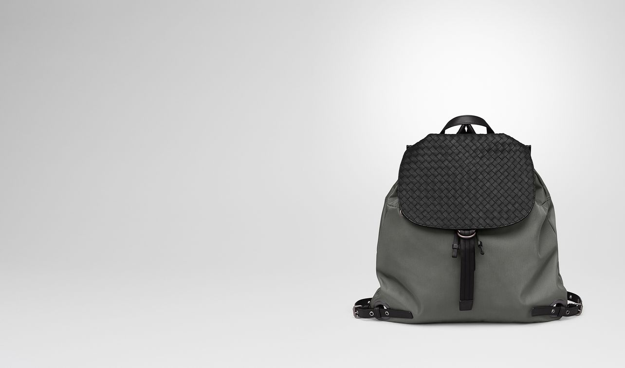backpack in new light grey technical canvas and nero intrecciato calf landing